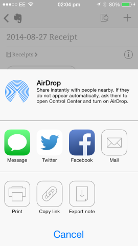 AirPrint's interface can be invoked from the iOS sharing pane.