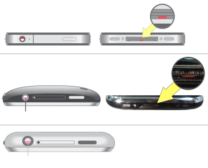 Older iPhones feature LCIs in the 30-pin port and inside the headphone socket.