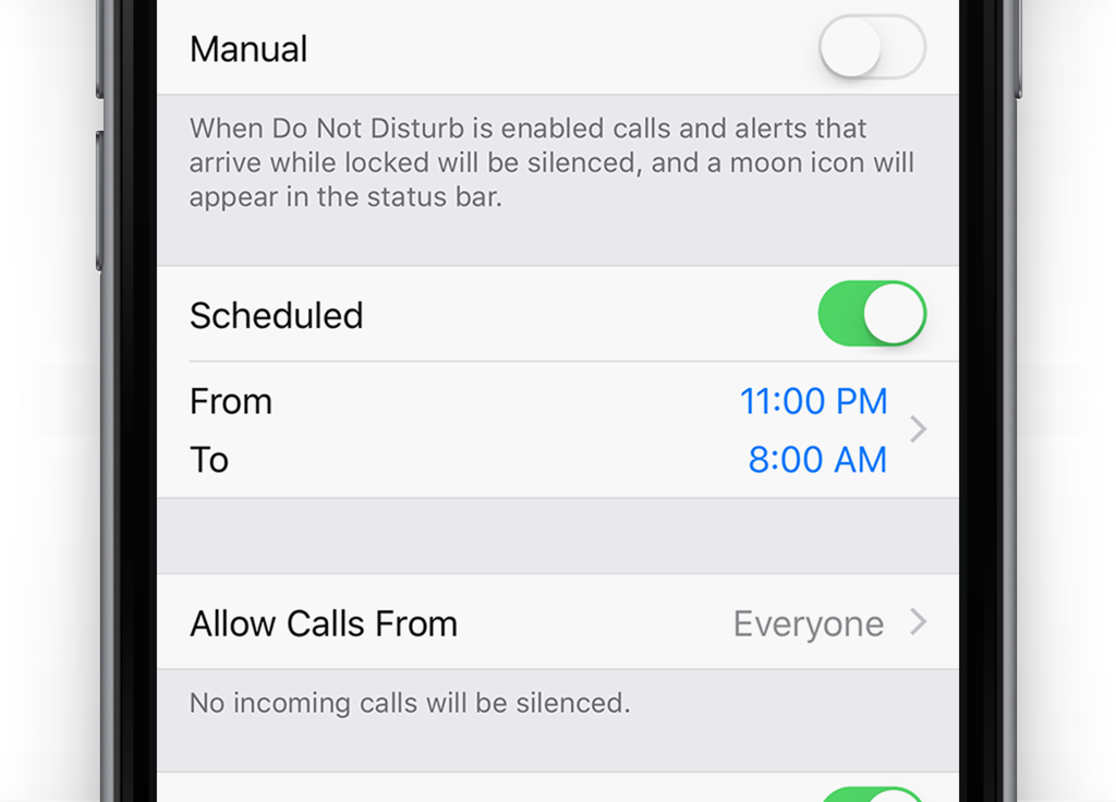 Schedule Do Not Disturb for set daily times