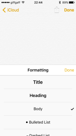 You can format text as title, heading or numbered lists