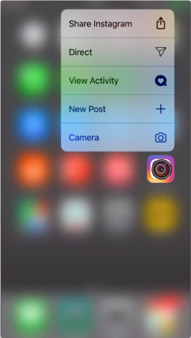 Access an app's Quick Actions without 3D Touch